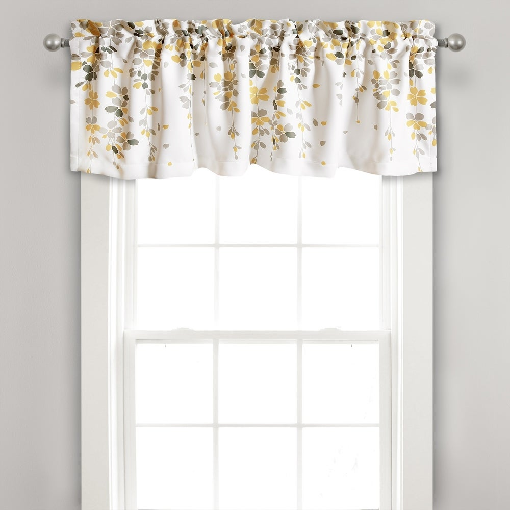 Lace Medallion Gray Stripes Yellow Circles retro mid-century waverly fabric decor window treatment covering topper curtain Valance