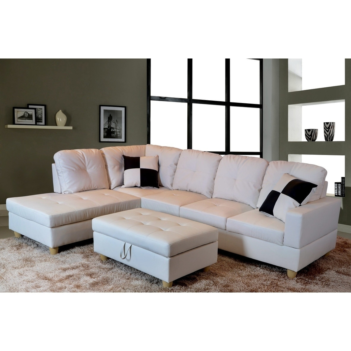 Exceptionnel Golden Coast Furniture Modern 3 Piece Faux Leather Sofa Sectional With  Ottoman Storage