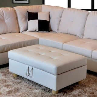 Golden Coast Furniture Modern 3 Piece Faux Leather Sofa Sectional With  Ottoman Storage