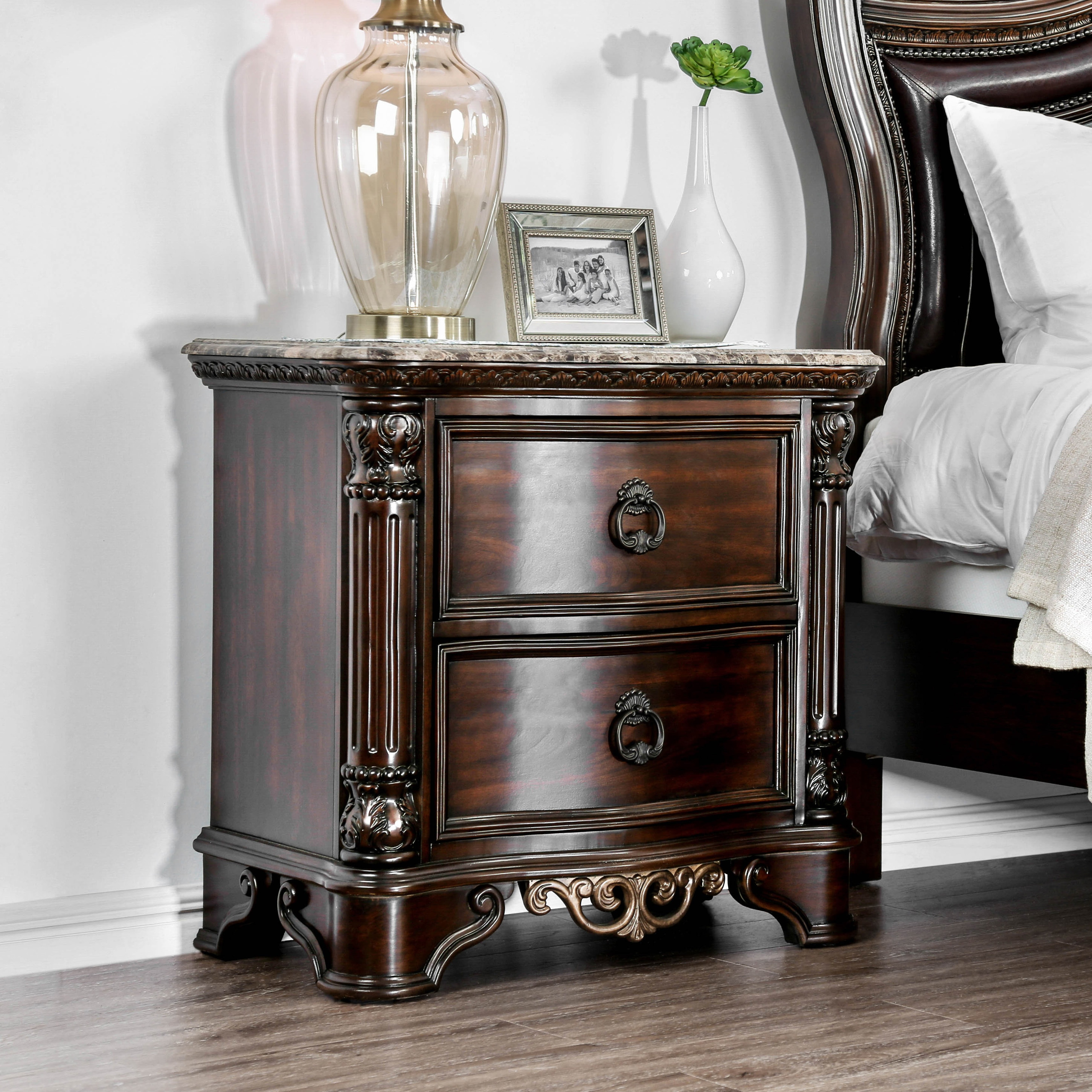 Pune Traditional Brown Wood 2 Drawer