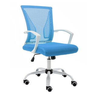 Modern Home Zuna Mid-Back Office Chair (Option: Mesh - Modern & Contemporary - Desk Chairs - Assembly Required - White/Blue - Swivel/Adjustable Height/Rolling)