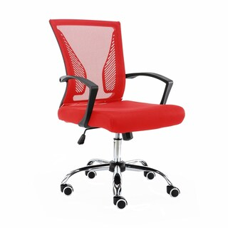 Modern Home Zuna Mid-Back Office Chair (Option: Mesh - MODERN - Desk Chairs - Assembly Required - Black/red - Swivel/Rolling/Adjustable Height)