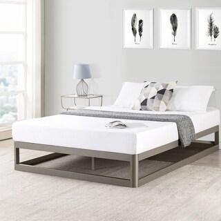 Crown Comfort Grey Steel 9-inch King Size Platform Bed Frame