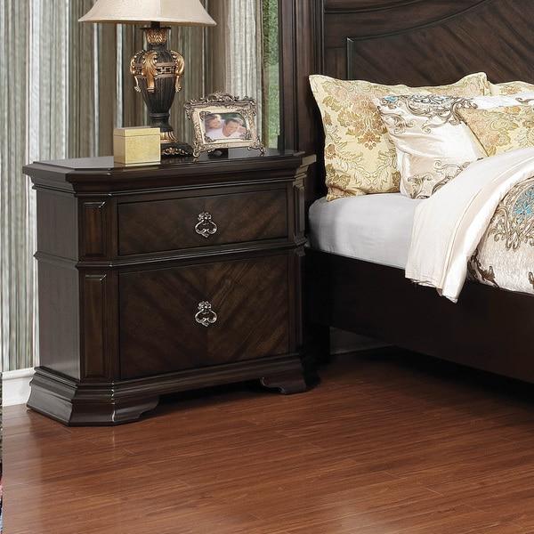 Furniture of America Hixi Traditional Espresso Solid Wood Nightstand