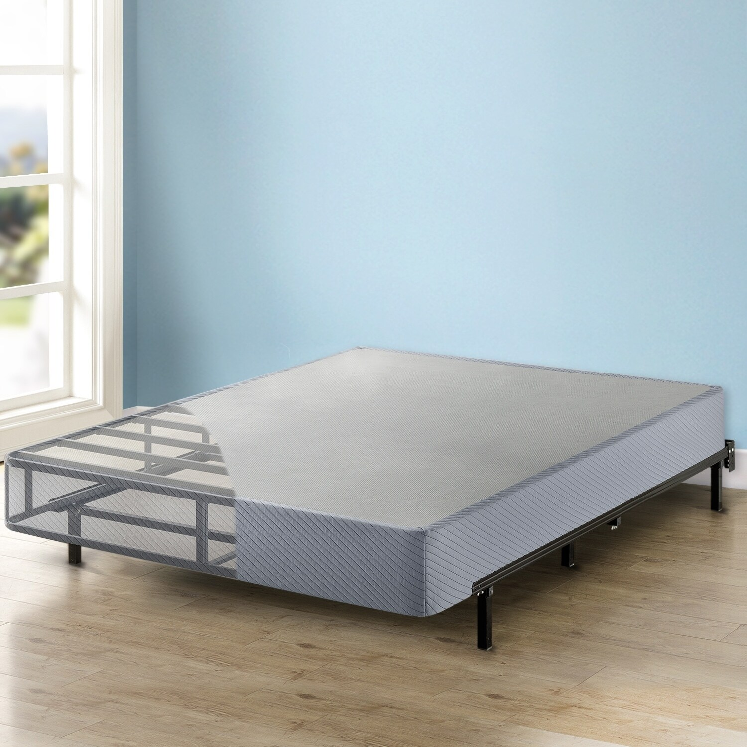 Gray Best Price Mattress Twin Box Spring 9 High Profile with with Heavy Duty Steel Slat Mattress Foundation Fits Standard Bed Frame