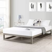 Queen Size 9 Inch Metal Platform Bed Frame, Round Type in Champagne Silver - Crown Comfort