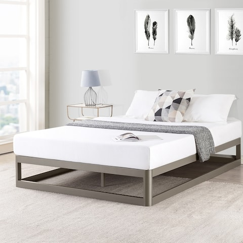 Porch & Den McAlpin Champagne Silver Queen-size 9-inch Metal Platform Bed Frame with Round Corners