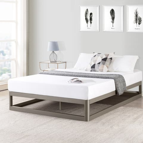 Full Size 9 Inch Metal Platform Bed Frame, Round Type in Champagne Silver - Crown Comfort