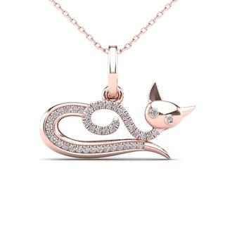 AALILLY 10k Rose Gold 1/10ct TDW Diamond Cat Pendant (H-I, I1-I2)