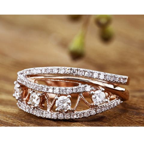Annello by Kobelli 10k Gold 1/2ct TDW Diamond Anniversary Band Fashion Ring