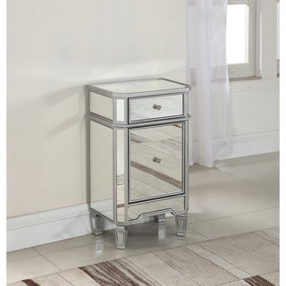 Best Master Furniture Silver Mirrored Side Stand