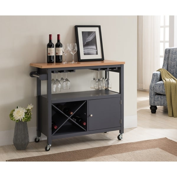 Shop Grey Wood Kitchen Cart Wine Rack Free Shipping Today