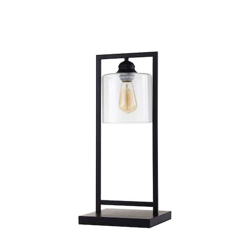 Furniture of America Leya Industrial Black Metal Square Base Lamp