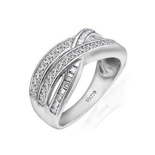 Sterling Silver Clad Interlocking Band Ring made with Swarovski Zirconia