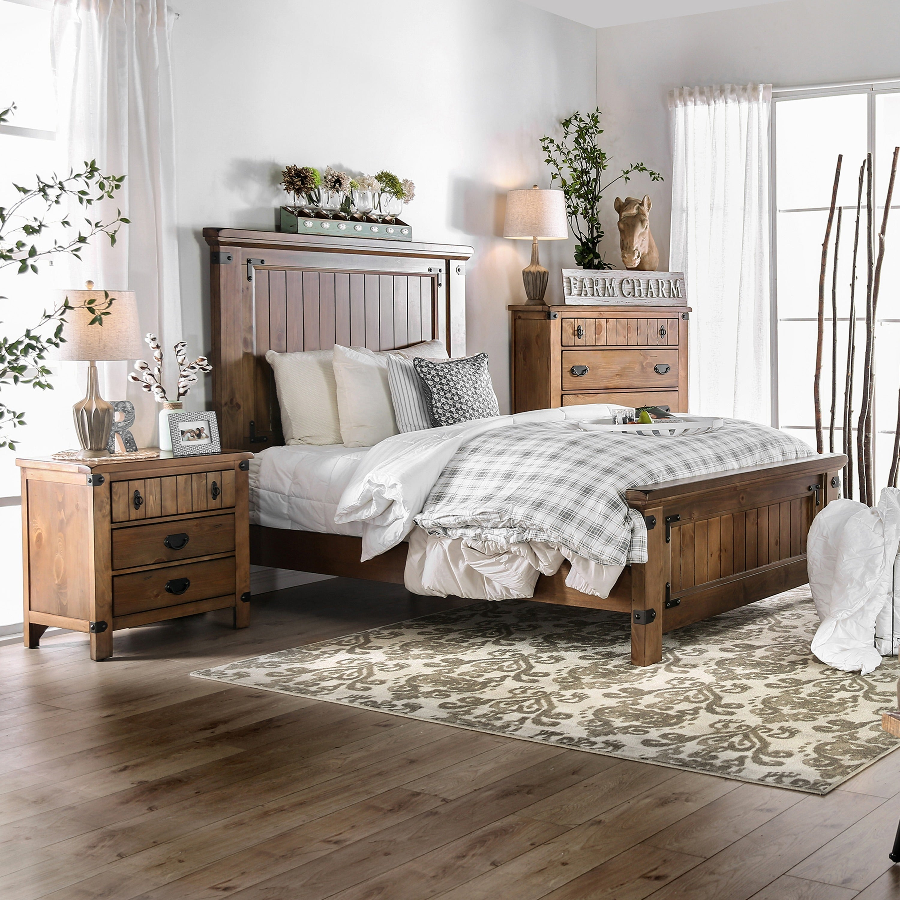 Shop Furniture Of America Sierren Farmhouse Style 3 Piece Bedroom Set Overstock 21906754