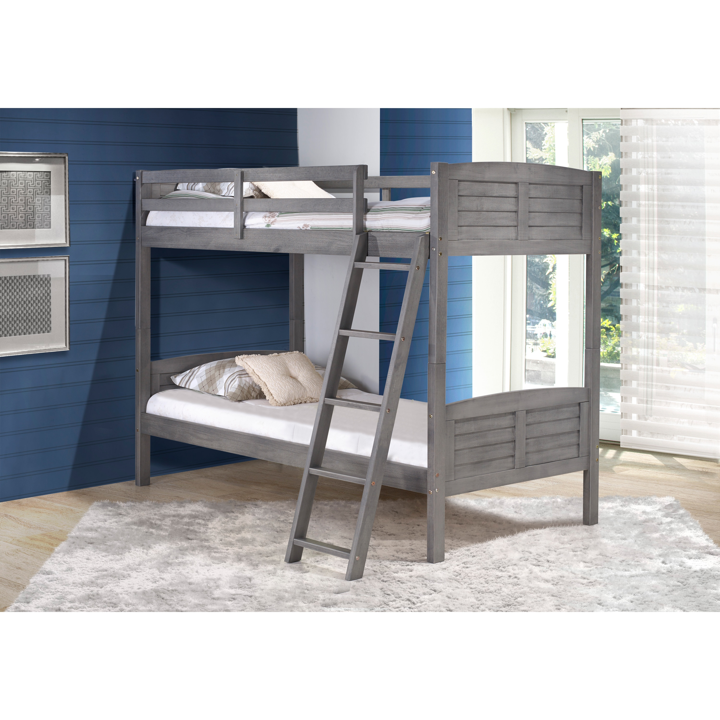 a846963889f2c Taylor   Olive Dardanelle Kids Antique Grey Twin over Twin Bunk Bed ...