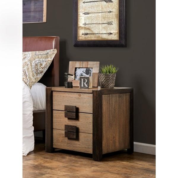 Furniture of America Wima Rustic Solid Wood 2-drawer Nightstand
