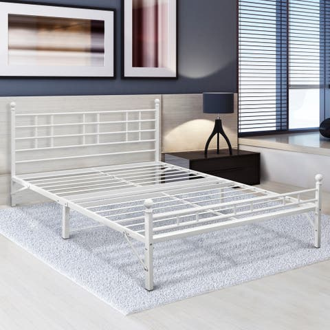 Porch & Den Radcliffe Twin XL Steel Platform Bed FrameWhite
