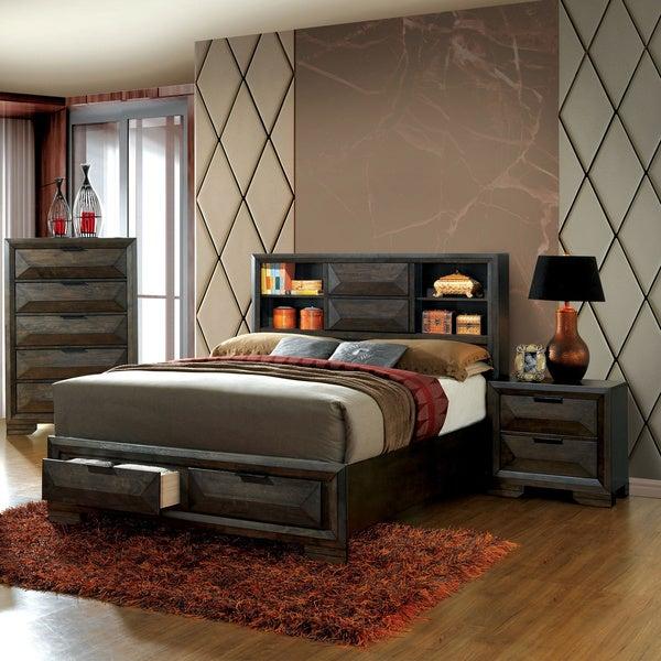Strick & Bolton Paloma 3-piece Headboard Espresso Storage Bedroom Set