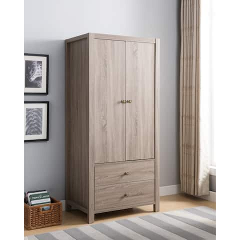 Copper Grove Gully Capacious 2 Drawer Wardrobe With Metal Glides And Inner Hanging Rail