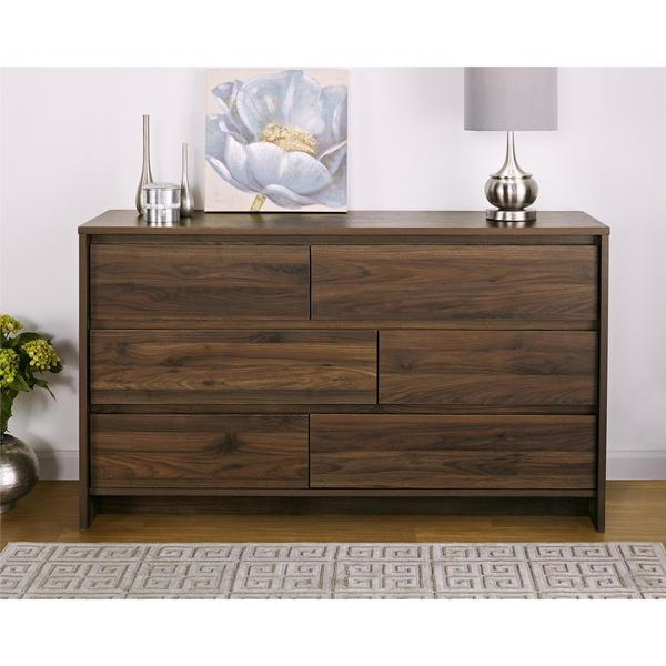 Carbon Loft Miles Walnut 6 Drawer Dresser