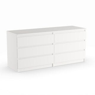 Porch & Den Kern McKellingon White Wood Grain 6-drawer Double Dresser