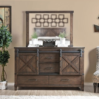 The Gray Barn Epona Rustic 2-piece Dark Walnut Dresser and Mirror Set