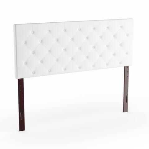 Silver Orchid Heston Queen Tufted Faux Leather Headboard