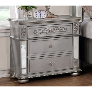 Silver Orchid Beaudet Glam Grey 3-drawer Nightstand