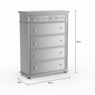 Silver Orchid Beaudet Glam Grey 5-drawer Chest