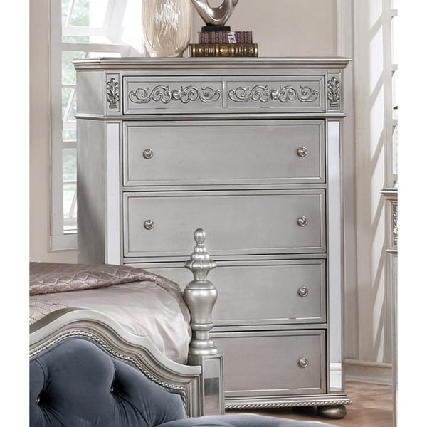 Best Quality Furniture Glam Grey 5-drawer Chest. Opens flyout.