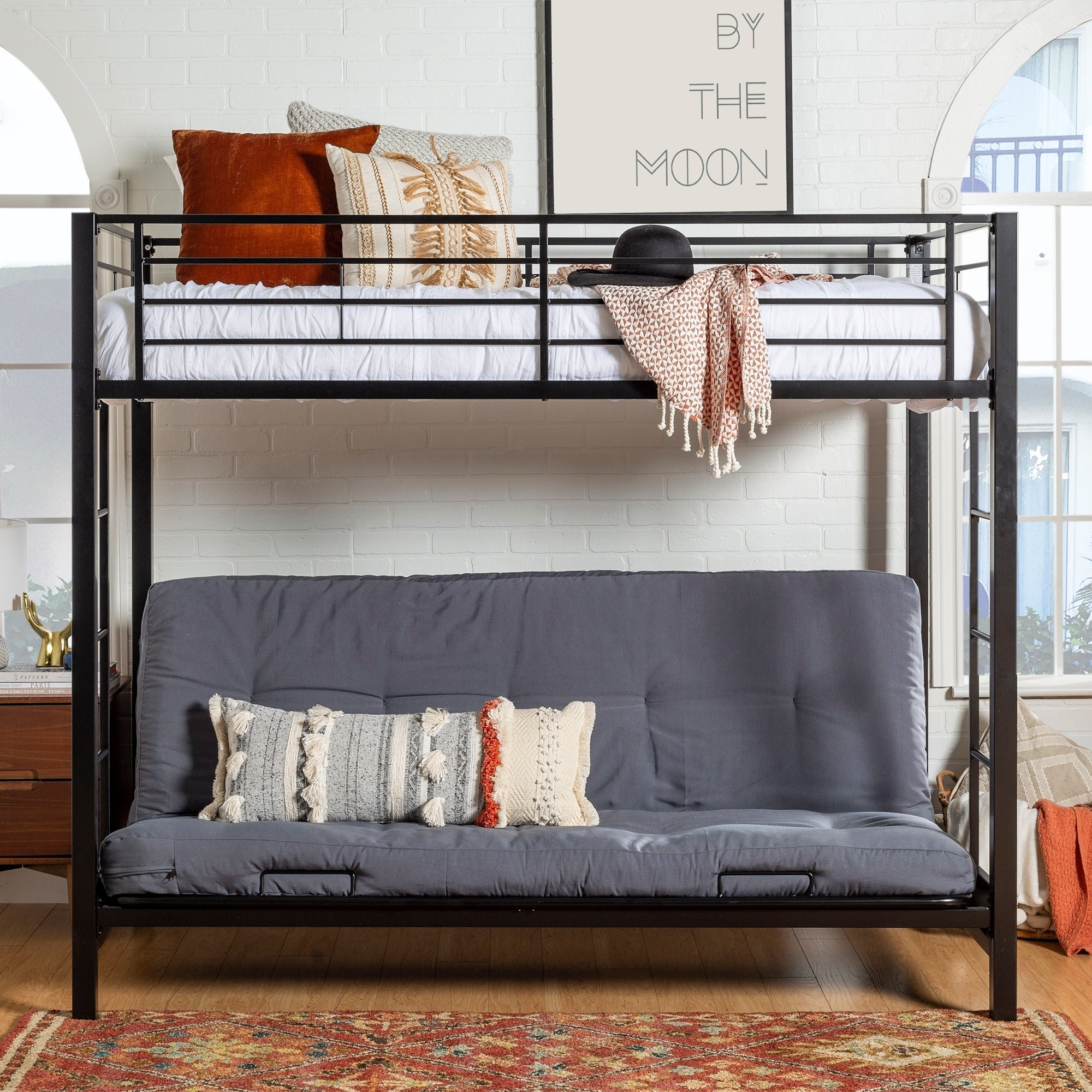 Picture of: Taylor Olive Tussock Black Steel Bunk Bed And Futon On Sale Overstock 21906971