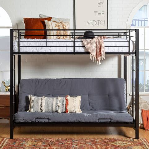 Taylor & Olive Tussock Black Steel Bunk Bed and Futon