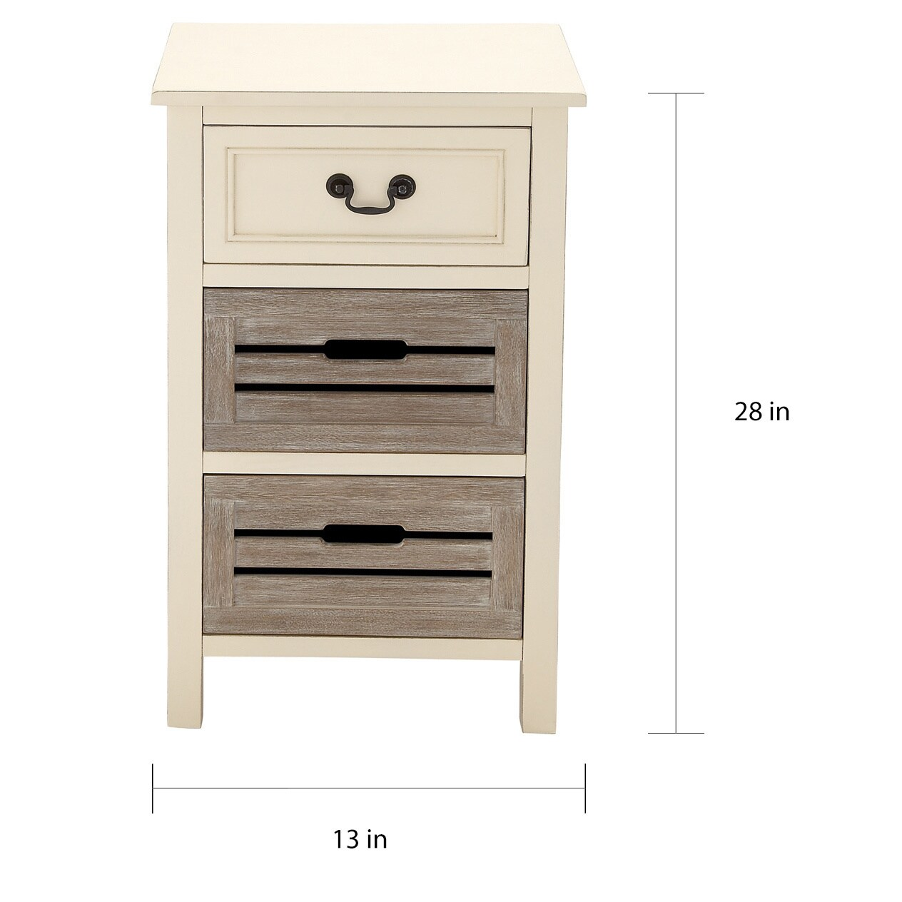 The Gray Barn Miranda 3 Drawer Solid Wood Two Tone Nightstand