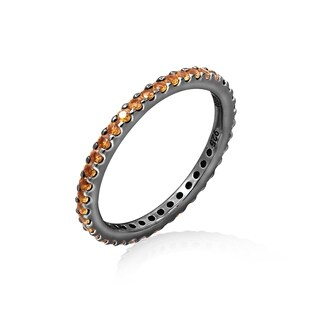 Black-Plated Sterling Silver Eternity Band Ring made with Swarovski Zirconia