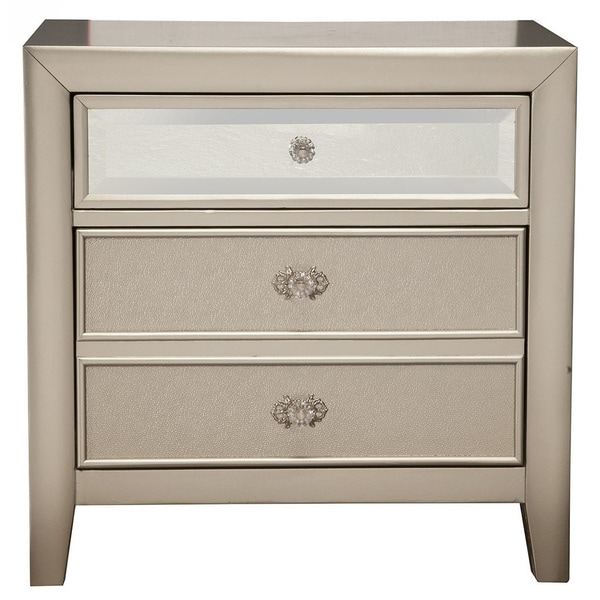 Silver Orchid Grant Silver-finish Wood 3-drawer Nightstand