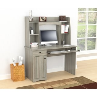 Inval Smoke Oak Workstation with Hutch