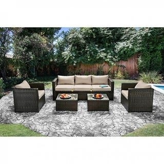 Contemporary 5 Pc.Aluminum Patio Set, Ivory White/Espresso Brown