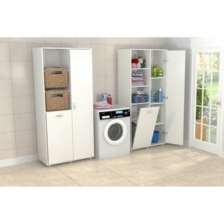 Inval White Utility Storage Cabinet with Tilt Bin