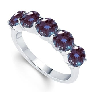 Sterling Silver Five stone Color Changing Alexandrite Band Ring
