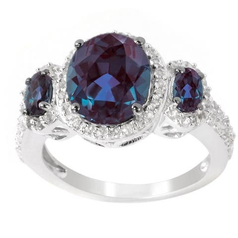Sterling Silver Color Changing Alexandrite & White Topaz Three Stone Ring