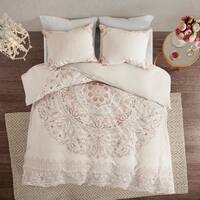 Madison Park Evelyn 3 Piece Cotton Printed Reversible Duvet Cover Set
