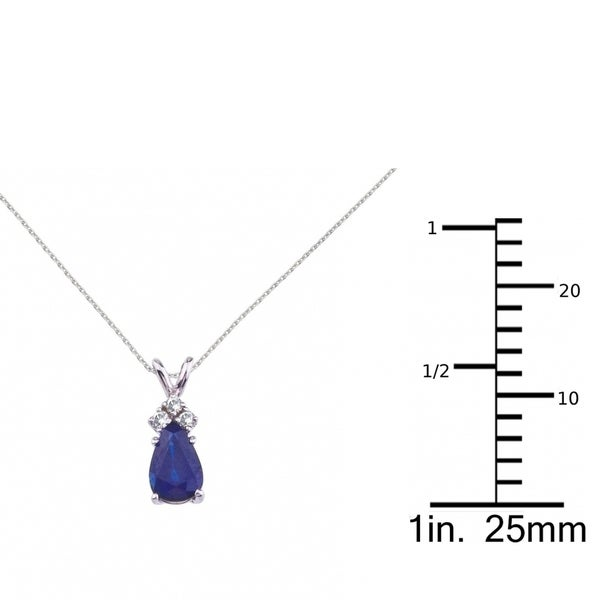 """14K White Gold Pear Shaped Sapphire and .05 ct Diamond Pendant and 18/"""" Chain"""