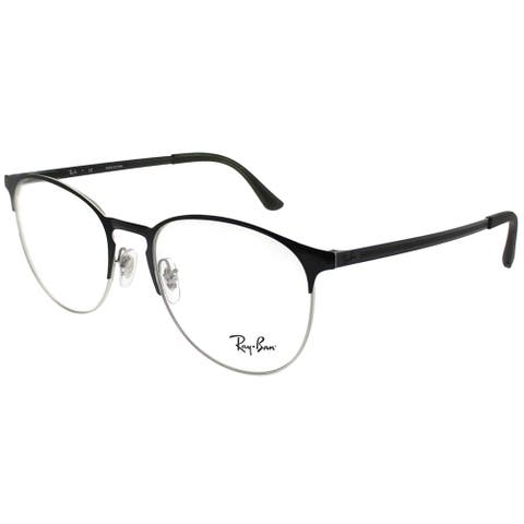 Ray-Ban Round RX 6375 2861 Unisex Silver on Black Frame Eyeglasses