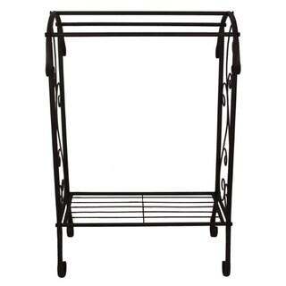 Benzara Free Standing Metal Towel Rack Stand With Shelf, Black