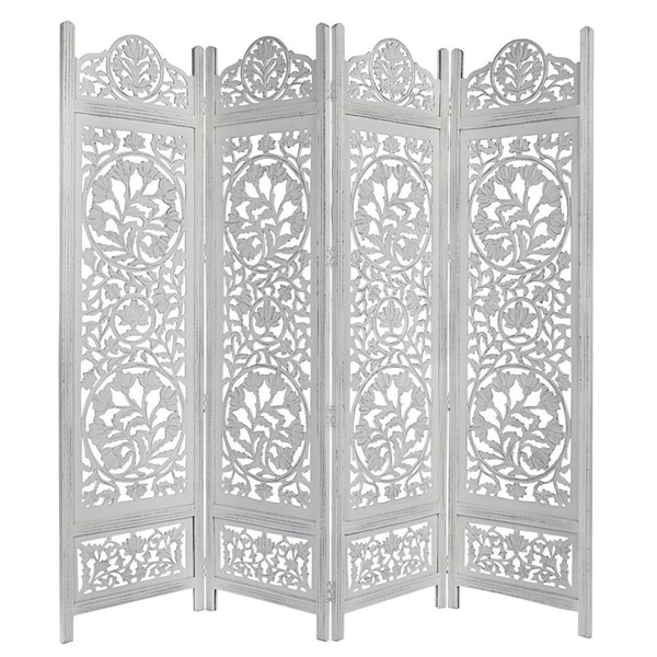 Handcrafted Wooden 4 Panel Room Divider Screen Featuring Lotus Pattern-Reversible