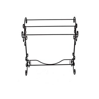 Benzara Free Standing Metal Blanket Rack With Scroll work, Black