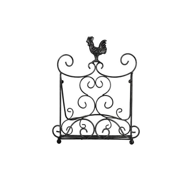 Benzara Antique Metal Cook Book Holder/Stand with Rooster, Bronze