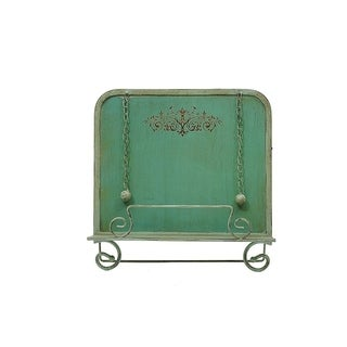 Benzara Metal Cook Book Stand With Chained Weights, Aqua Green