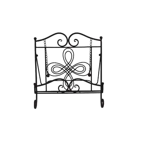 Benzara Scroll Work Design Metal Cook Book Stand, Copper Black